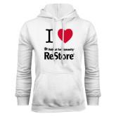 White Fleece Hoodie-I Heart Restore