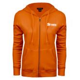 ENZA Ladies Orange Fleece Full Zip Hoodie-