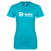 Next Level Ladies SoftStyle Junior Fitted Ice Blue Tee-