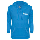 ENZA Ladies Pacific Blue V Notch Raw Edge Fleece Hoodie-