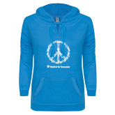 ENZA Ladies Pacific Blue V Notch Raw Edge Fleece Hoodie-Peace Tools