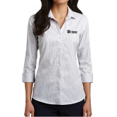 Ladies White/Dark Grey Micro Tattersall 3/4 Sleeve Shirt-