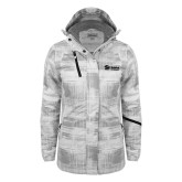 Ladies White Brushstroke Print Insulated Jacket-