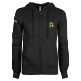 ENZA Ladies Black Fleece Full Zip Hoodie-Beloved Community