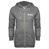 ENZA Ladies Grey/Black Marled Full Zip Hoodie-