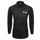 Ladies Black Tonal Pattern Long Sleeve Shirt-