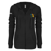 ENZA Ladies Black Light Weight Fleece Full Zip Hoodie-Beloved Community