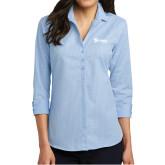Ladies Heritage Blue/Royal Micro Tattersall 3/4 Sleeve Shirt-