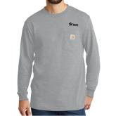 Carhartt Workwear Heather Grey Long Sleeve Pocket T Shirt-