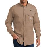 Carhartt Force Ridgefield Khaki Long Sleeve Shirt-