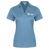 Ladies Light Blue Performance Fine Jacquard Polo-