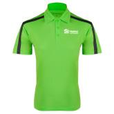 Lime Green Performance Colorblock Stripe Polo-