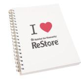 Clear 7 x 10 Spiral Journal Notebook-I Heart Restore