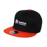 Black/Orange Twill Flat Bill Snapback Hat-