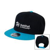 Black/Sapphire Wool Blend Flat Bill Snapback Hat-