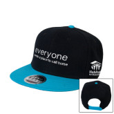 Black/Sapphire Wool Blend Flat Bill Snapback Hat-Everyone