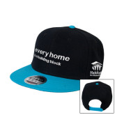 Black/Sapphire Wool Blend Flat Bill Snapback Hat-Every Home