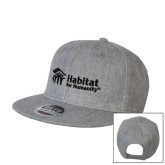 Heather Grey Wool Blend Flat Bill Snapback Hat-