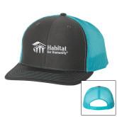 Richardson Charcoal/Neon Blue Trucker Hat-