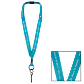 Polyester 3/4 Inch Turquoise Lanyard w/ Breakaway, Swivel Clip Attachment-