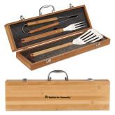 Grill Master 3pc Bamboo BBQ Set-Flat Logo Engraved
