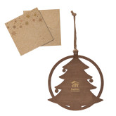 Wood Holiday Tree Ornament-Stacked Logo Engraved