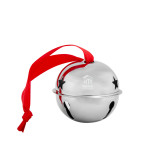 Silver Jingle Bell Ornament-Stacked Logo Engraved