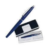 Cross ATX Blue Lacquer Roller Ball Pen-Flat Logo Engraved