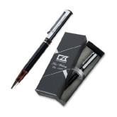 Cutter & Buck Black/Tortoise Shell Draper Ballpoint Pen-Flat Logo Engraved