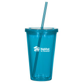 Madison Double Wall Turquoise Tumbler w/Straw 16oz-