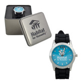 Mens Silver & Black Watch-