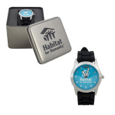 Ladies Silver & Black Watch-