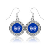 Crystal Studded Round Pendant Silver Dangle Earrings-Hampton Pirates Swords