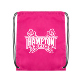 Pink Drawstring Backpack-Hampton Pirates Swords