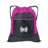 Nylon Pink Raspberry/Deep Smoke Pocket Drawstring Backpack-Hampton Pirates Swords