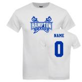 White T Shirt-Hampton Pirates Swords, Custom Tee w/ Name and #