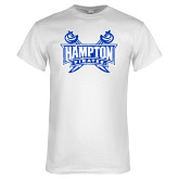 White T Shirt-Hampton Pirates Swords Distressed