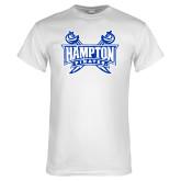 White T Shirt-Hampton Pirates Swords Distressed
