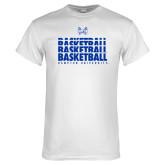 White T Shirt-Basketball Stacked Design