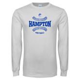 White Long Sleeve T Shirt-Softball Seams Design