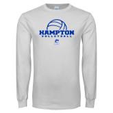White Long Sleeve T Shirt-Volleyball Ball Design