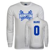 White Long Sleeve T Shirt-Hampton Pirates Swords, Custom Tee w/ Name and #