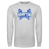 White Long Sleeve T Shirt-Hampton Pirates Swords