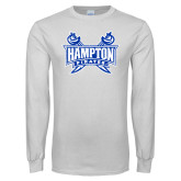 White Long Sleeve T Shirt-Hampton Pirates Swords Distressed