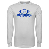 White Long Sleeve T Shirt-Football Stacked Ball Design