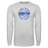 White Long Sleeve T Shirt-Basketball Ball Design