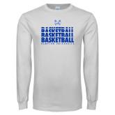 White Long Sleeve T Shirt-Basketball Stacked Design
