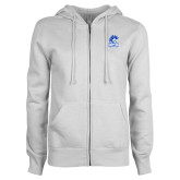 ENZA Ladies White Fleece Full Zip Hoodie-Hampton Pirates