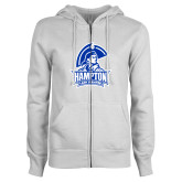 ENZA Ladies White Fleece Full Zip Hoodie-Hampton Lady Pirates