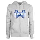 ENZA Ladies White Fleece Full Zip Hoodie-Hampton Pirates Swords